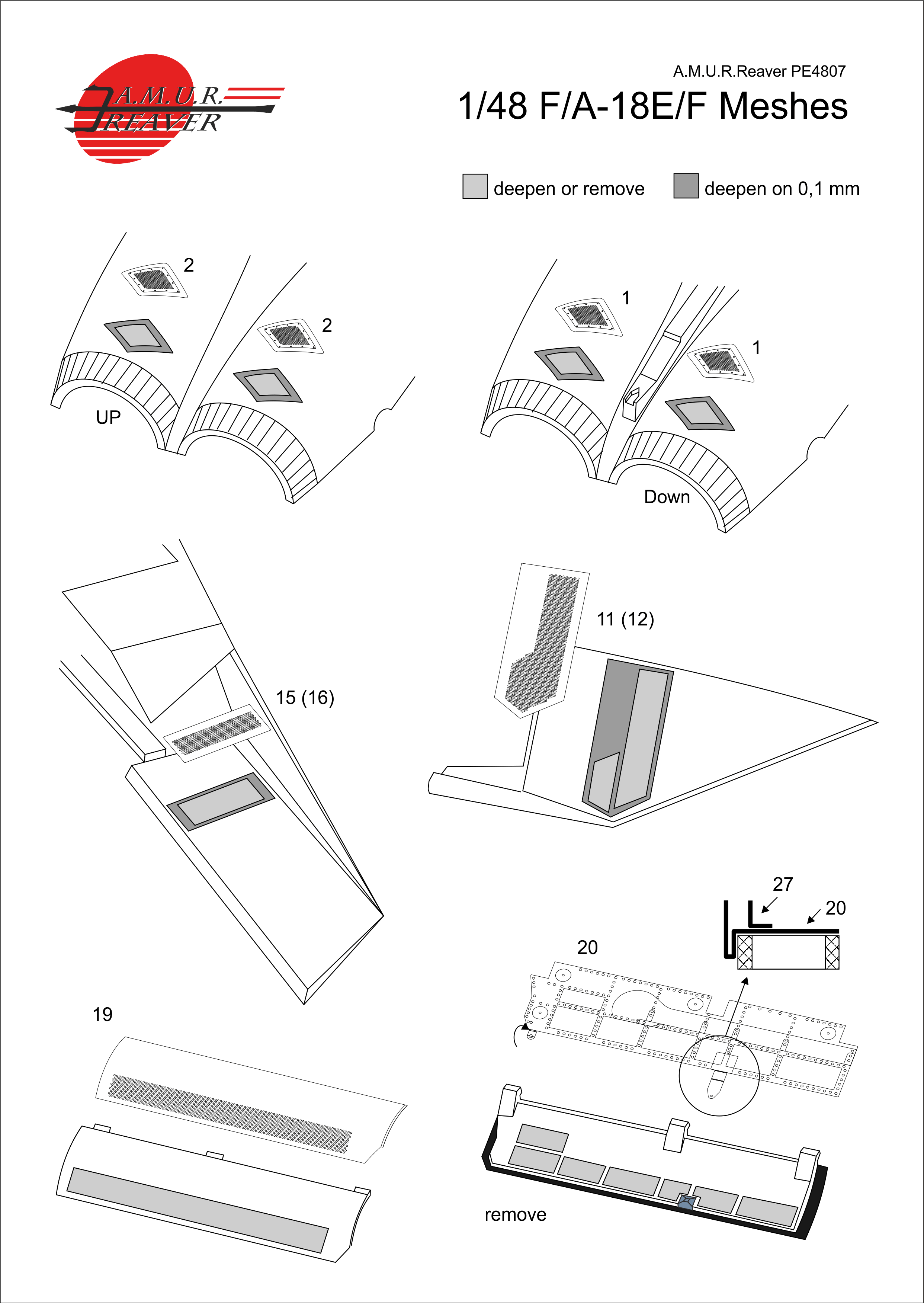 A.M.U.R.Reaver PE4807 F//A-18E//F//G Meshes Set 1//48 Photoetched